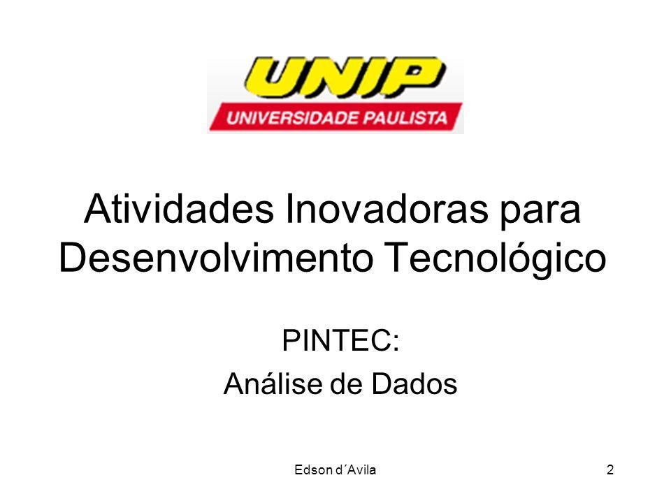 Edson d´Avila2 Atividades Inovadoras para Desenvolvimento Tecnológico PINTEC: Análise de Dados
