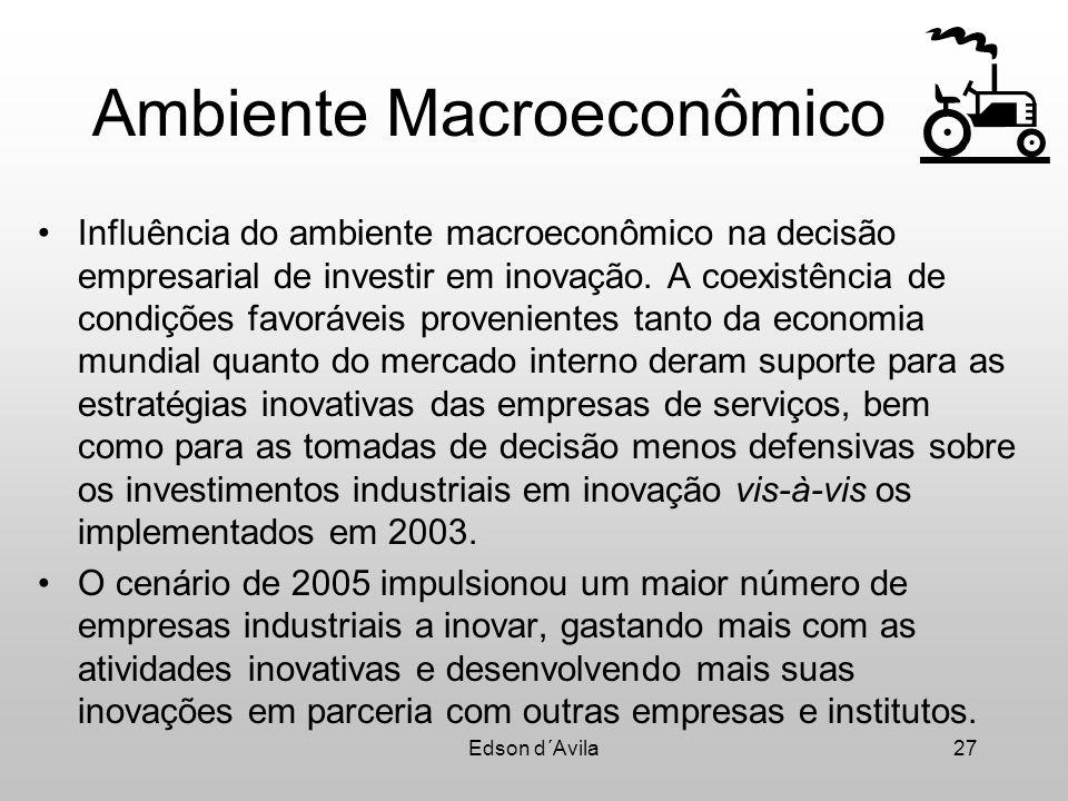 Edson d´Avila27 Ambiente Macroeconômico Influência do ambiente macroeconômico na decisão empresarial de investir em inovação. A coexistência de condiç