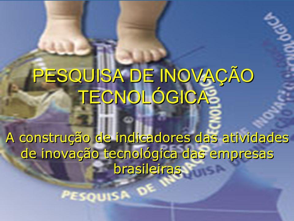 Edson d´Avila3 PESQUISA DE INOVAÇÃO TECNOLÓGICA A construção de indicadores das atividades de inovação tecnológica das empresas brasileiras