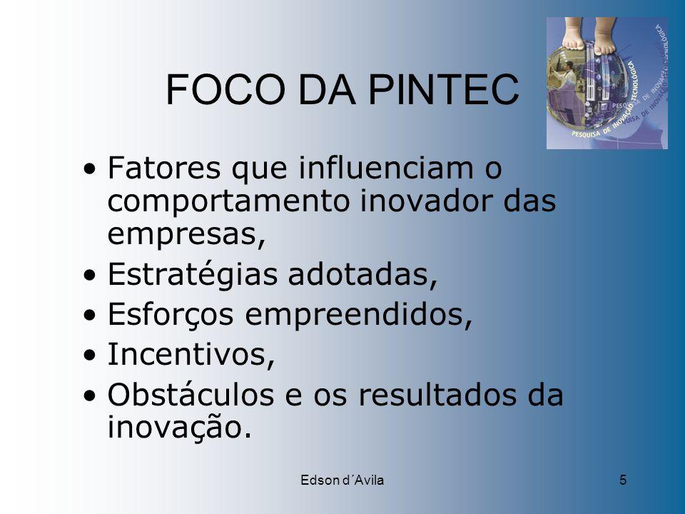 Edson d´Avila5 FOCO DA PINTEC Fatores que influenciam o comportamento inovador das empresas, Estratégias adotadas, Esforços empreendidos, Incentivos,