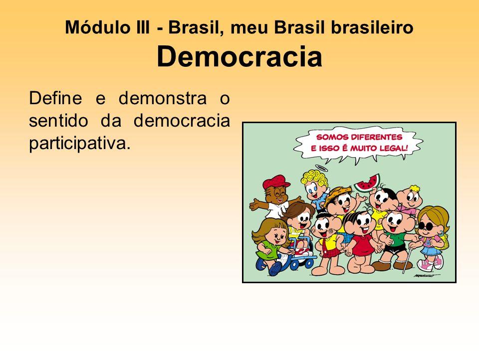Módulo III - Brasil, meu Brasil brasileiro Democracia Define e demonstra o sentido da democracia participativa.