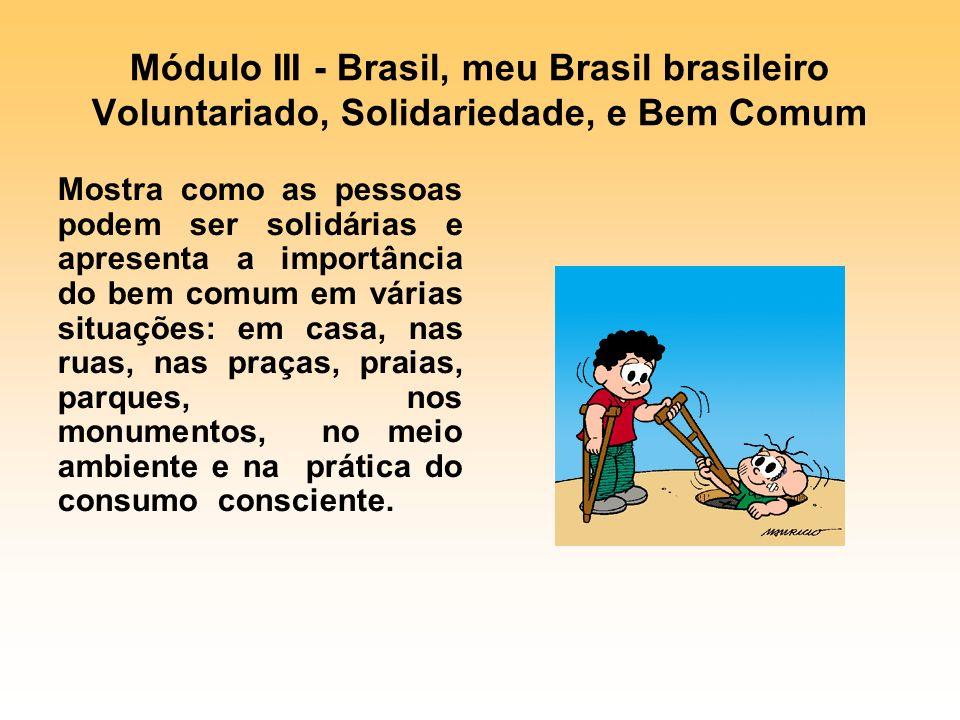 Módulo III - Brasil, meu Brasil brasileiro Voluntariado, Solidariedade, e Bem Comum Mostra como as pessoas podem ser solidárias e apresenta a importân