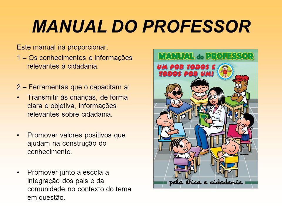 MANUAL DO PROFESSOR Este manual irá proporcionar: 1 – Os conhecimentos e informações relevantes à cidadania. 2 – Ferramentas que o capacitam a: Transm