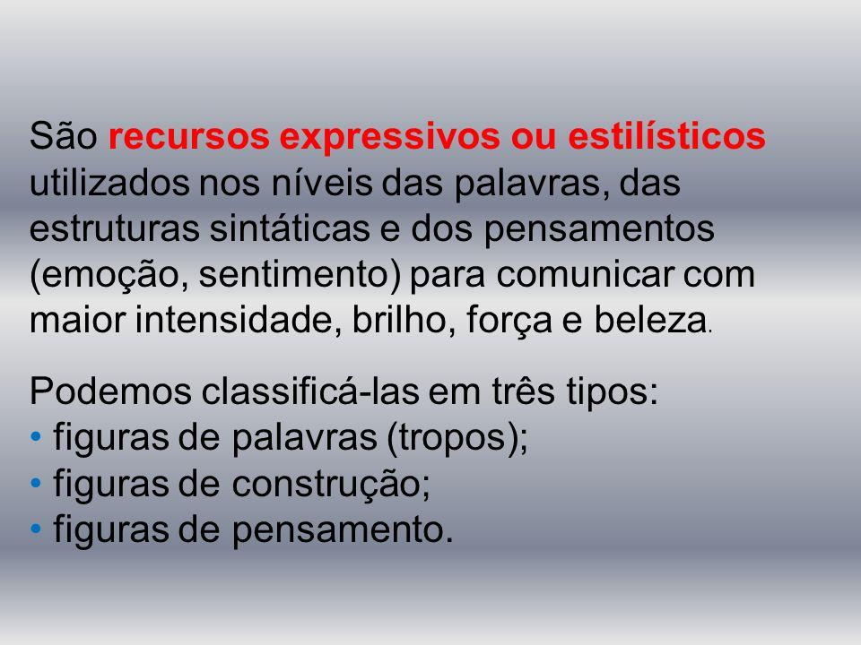 São recursos expressivos ou estilísticos utilizados nos níveis das palavras, das estruturas sintáticas e dos pensamentos (emoção, sentimento) para com