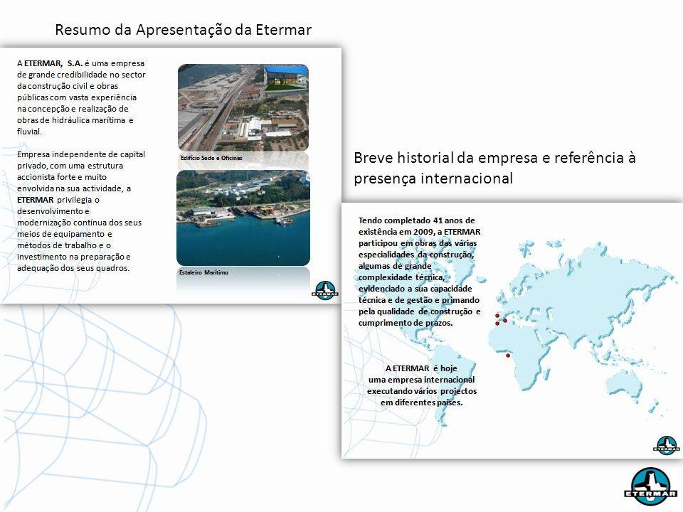 Resumo da Apresentação da Etermar Breve historial da empresa e referência à presença internacional