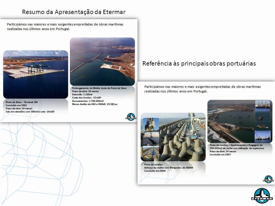 Resumo da Apresentação da Etermar Referência às principais obras portuárias