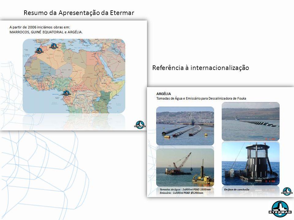 Resumo da Apresentação da Etermar Referência à internacionalização