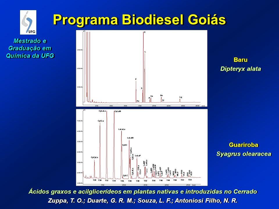 Programa Biodiesel Goiás Ácidos graxos e acilglicerídeos em plantas nativas e introduzidas no Cerrado Zuppa, T. O.; Duarte, G. R. M.; Souza, L. F.; An