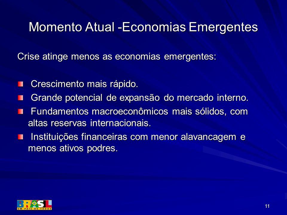 11 Momento Atual -Economias Emergentes Crise atinge menos as economias emergentes: Crescimento mais rápido. Crescimento mais rápido. Grande potencial