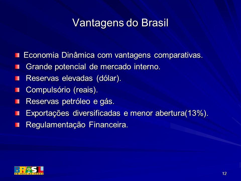 12 Vantagens do Brasil Economia Dinâmica com vantagens comparativas. Grande potencial de mercado interno. Grande potencial de mercado interno. Reserva