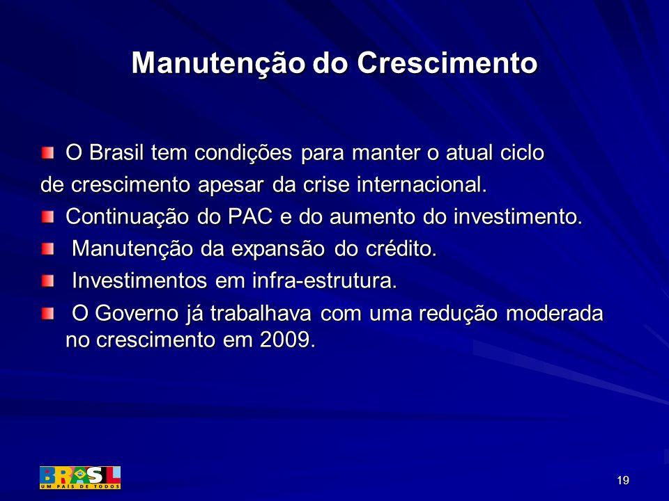 19 Manutenção do Crescimento O Brasil tem condições para manter o atual ciclo de crescimento apesar da crise internacional. Continuação do PAC e do au