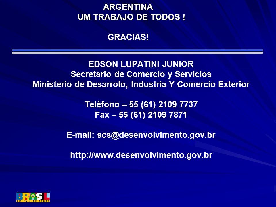 EDSON LUPATINI JUNIOR Secretario de Comercio y Servicios Ministerio de Desarrolo, Industria Y Comercio Exterior Teléfono – 55 (61) 2109 7737 Fax – 55