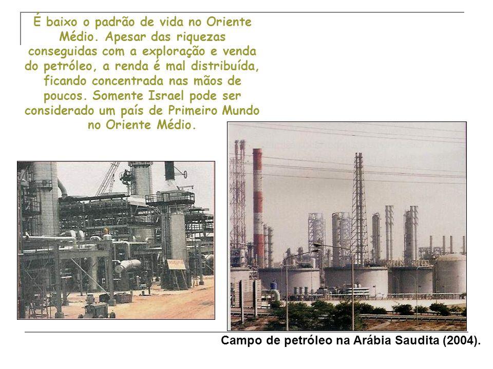 O petróleo e as desigualdades sociais A economia baseada na exploração do petróleo trouxe muita riqueza para os países produtores do OM.