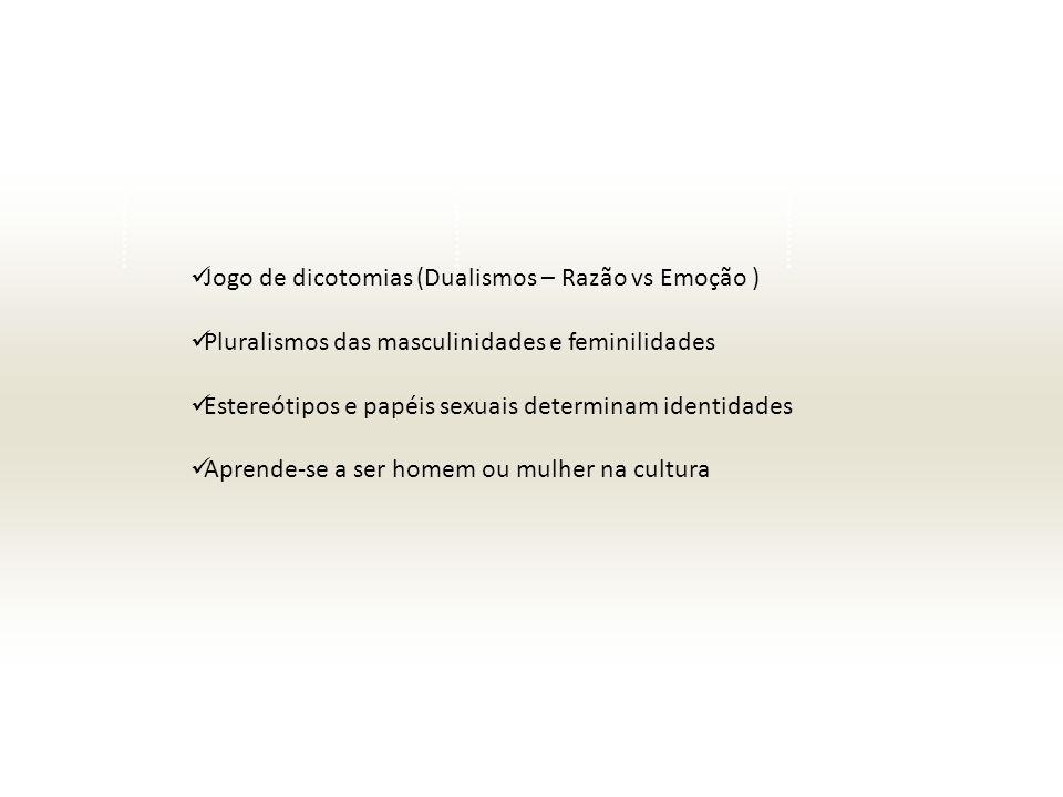 Jogo de dicotomias (Dualismos – Razão vs Emoção ) Pluralismos das masculinidades e feminilidades Estereótipos e papéis sexuais determinam identidades Aprende-se a ser homem ou mulher na cultura
