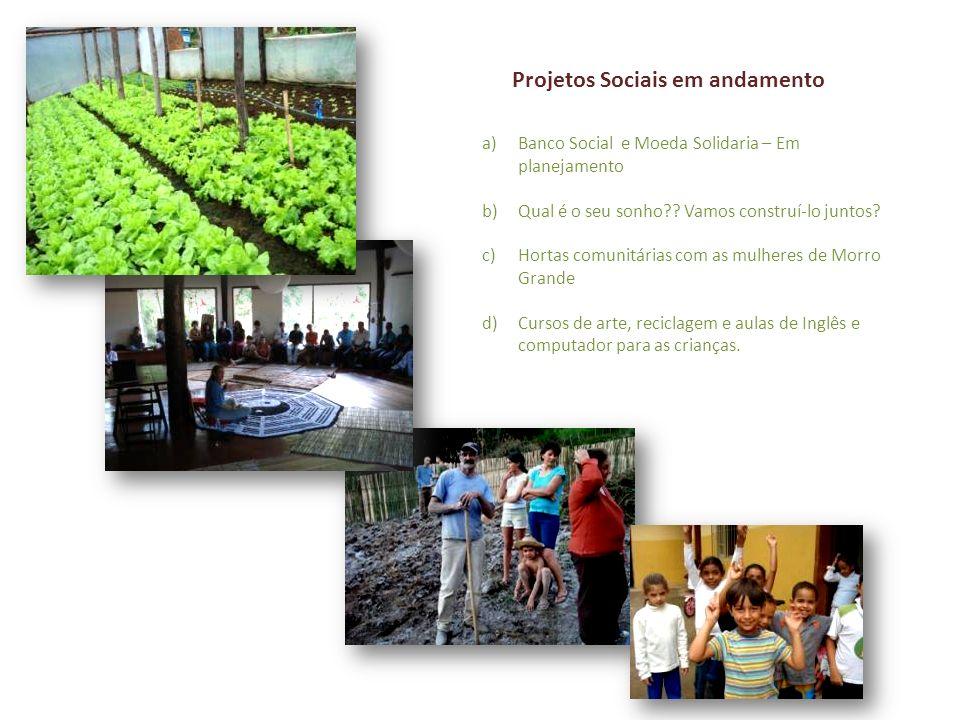 Projetos Sociais em andamento a)Banco Social e Moeda Solidaria – Em planejamento b)Qual é o seu sonho?? Vamos construí-lo juntos? c)Hortas comunitária