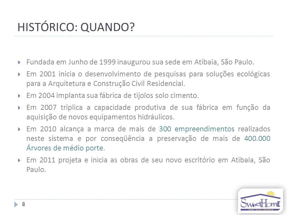 HISTÓRICO: QUANDO.Fundada em Junho de 1999 inaugurou sua sede em Atibaia, São Paulo.