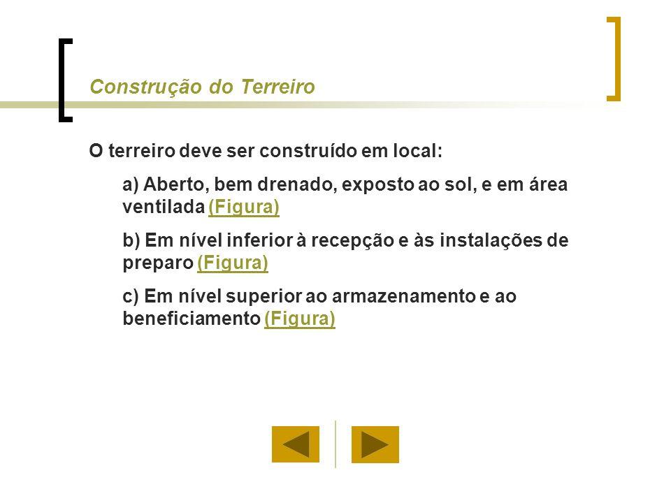Os terreiros podem ser construídos em: a) Alvenaria, b) Asfalto, c) Concreto d) Terra batida (Figura)(Figura) Nota: O piso de concreto apresenta melhores resultados na secagem.