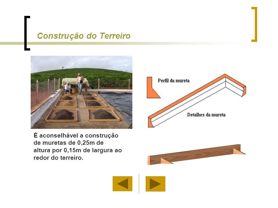 Construção do Terreiro Para proteger o café durante a noite ou em dias chuvosos, barreiras circulares ou semi-circulares podem ser construídas.