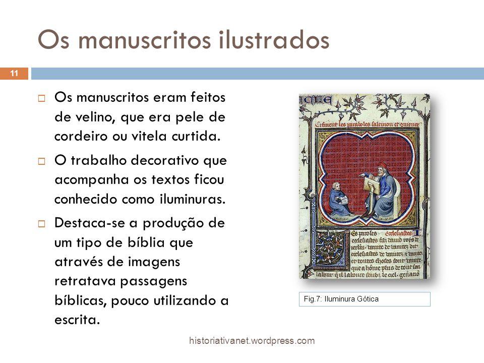 Os manuscritos ilustrados Os manuscritos eram feitos de velino, que era pele de cordeiro ou vitela curtida. O trabalho decorativo que acompanha os tex