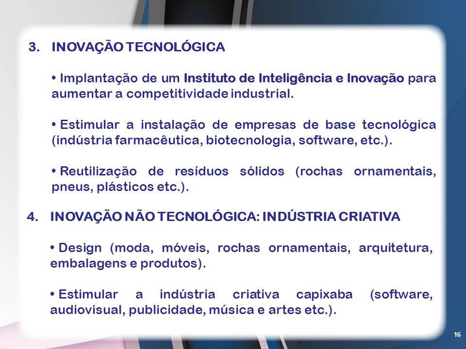16 4.INOVAÇÃO NÃO TECNOLÓGICA: INDÚSTRIA CRIATIVA Design (moda, móveis, rochas ornamentais, arquitetura, embalagens e produtos). Estimular a indústria