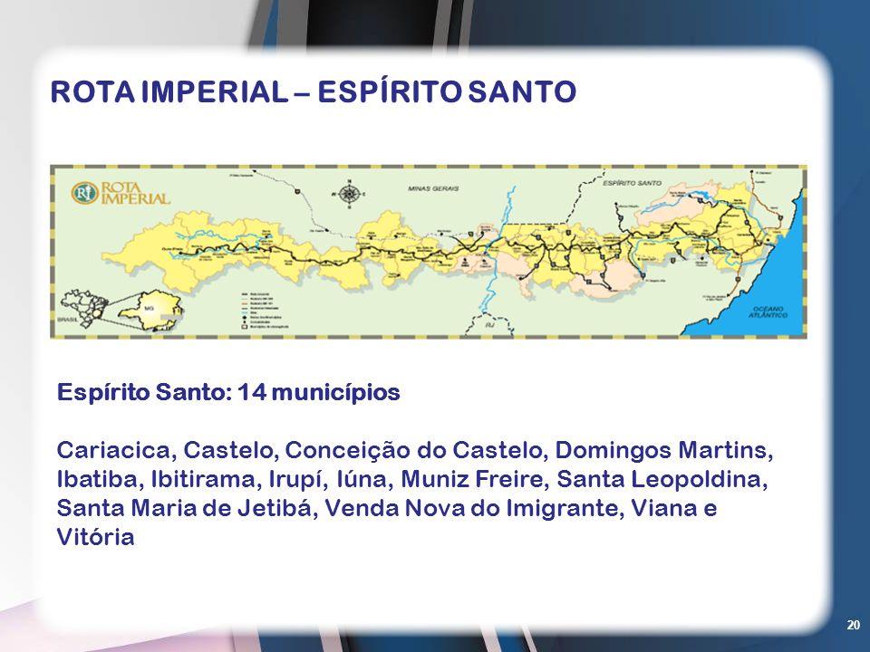 20 Espírito Santo: 14 municípios Cariacica, Castelo, Conceição do Castelo, Domingos Martins, Ibatiba, Ibitirama, Irupí, Iúna, Muniz Freire, Santa Leop