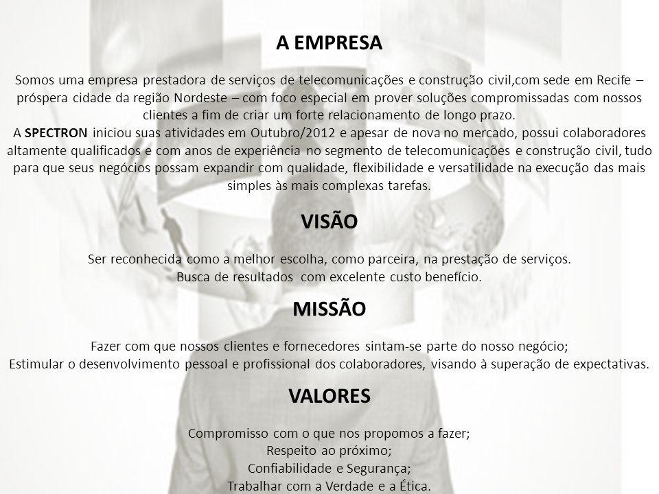 A EMPRESA Somos uma empresa prestadora de serviços de telecomunicações e construção civil,com sede em Recife – próspera cidade da região Nordeste – co