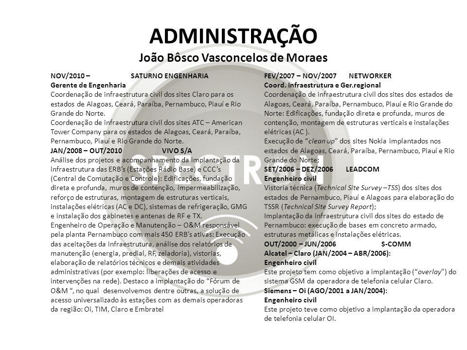 ADMINISTRAÇÃO João Bôsco Vasconcelos de Moraes FEV/2007 – NOV/2007 NETWORKER Coord. Infraestrutura e Ger.regional Coordenação de infraestrutura civil