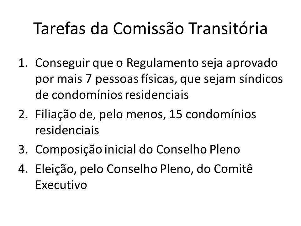 Tarefas da Comissão Transitória 1.Conseguir que o Regulamento seja aprovado por mais 7 pessoas físicas, que sejam síndicos de condomínios residenciais