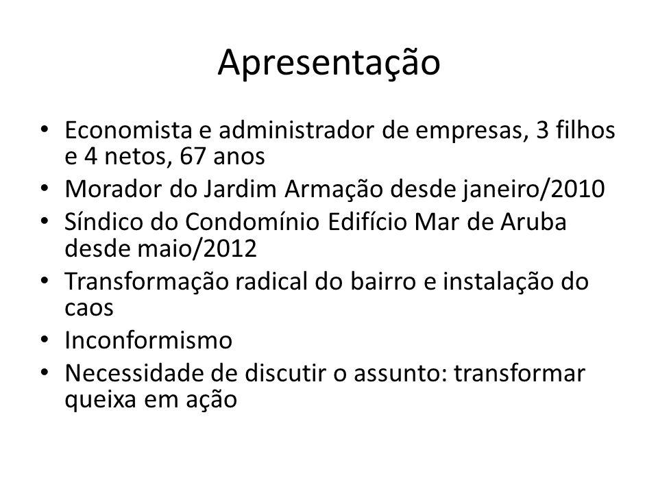 Apresentação Economista e administrador de empresas, 3 filhos e 4 netos, 67 anos Morador do Jardim Armação desde janeiro/2010 Síndico do Condomínio Ed
