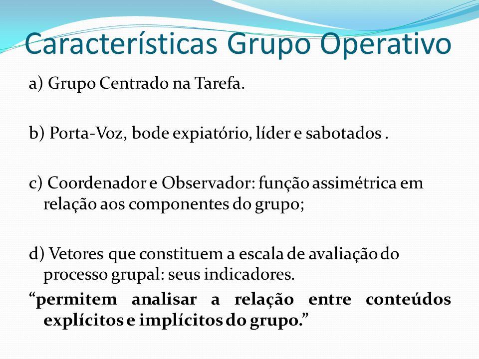 Características Grupo Operativo a) Grupo Centrado na Tarefa.