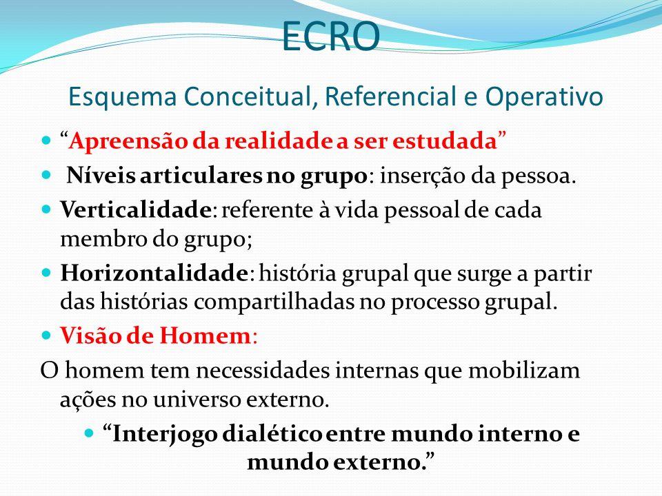 ECRO Esquema Conceitual, Referencial e Operativo Apreensão da realidade a ser estudada Níveis articulares no grupo: inserção da pessoa.