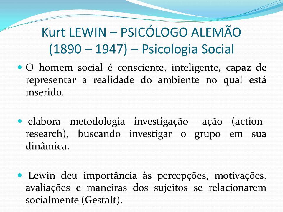 Kurt LEWIN – PSICÓLOGO ALEMÃO (1890 – 1947) – Psicologia Social O homem social é consciente, inteligente, capaz de representar a realidade do ambiente no qual está inserido.