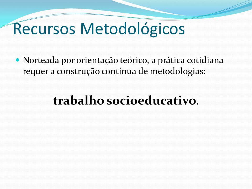 Recursos Metodológicos Norteada por orientação teórico, a prática cotidiana requer a construção contínua de metodologias: trabalho socioeducativo.