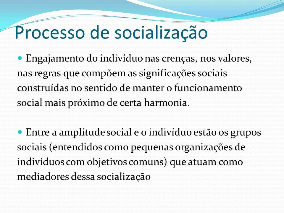 Processo de socialização Engajamento do indivíduo nas crenças, nos valores, nas regras que compõem as significações sociais construídas no sentido de manter o funcionamento social mais próximo de certa harmonia.