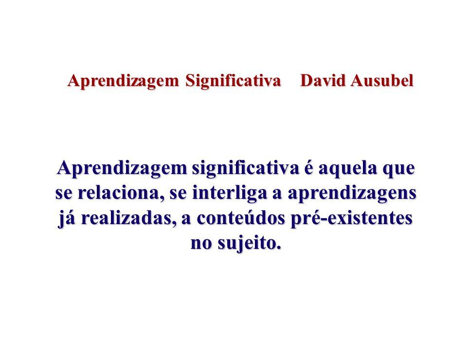 Aprendizagem Significativa David Ausubel Aprendizagem significativa é aquela que se relaciona, se interliga a aprendizagens já realizadas, a conteúdos pré-existentes no sujeito.