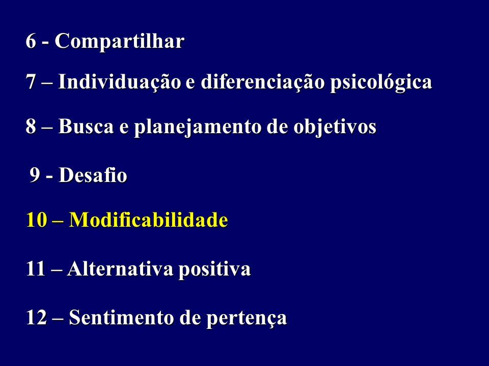 6 - Compartilhar 7 – Individuação e diferenciação psicológica 8 – Busca e planejamento de objetivos 9 - Desafio 10 – Modificabilidade 11 – Alternativa positiva 12 – Sentimento de pertença