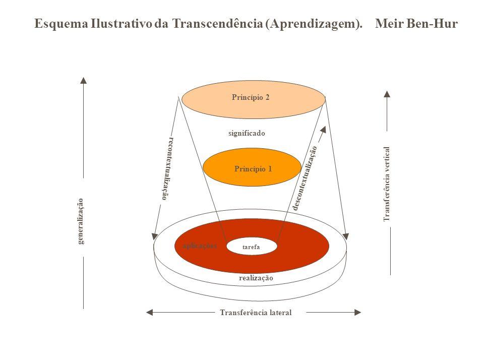 tarefa Princípio 1 Princípio 2 generalização descontextualização recontextualização significado Transferência lateral Transferência vertical Esquema Ilustrativo da Transcendência (Aprendizagem).