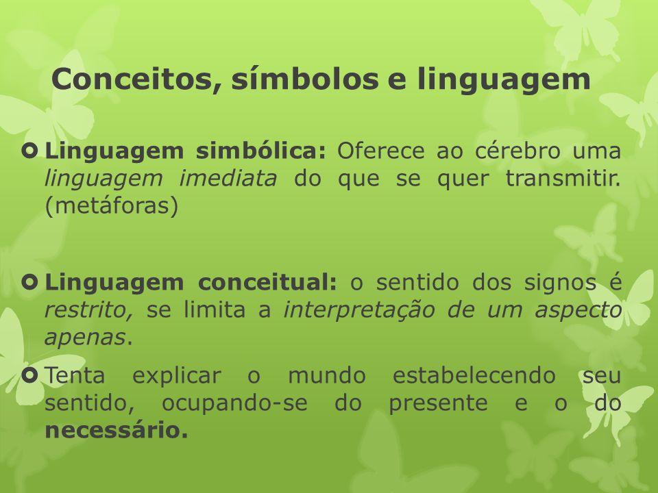 Conceitos, símbolos e linguagem Linguagem simbólica: Oferece ao cérebro uma linguagem imediata do que se quer transmitir. (metáforas) Linguagem concei