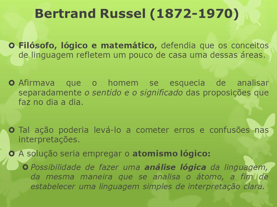 Bertrand Russel (1872-1970) Filósofo, lógico e matemático, defendia que os conceitos de linguagem refletem um pouco de casa uma dessas áreas. Afirmava