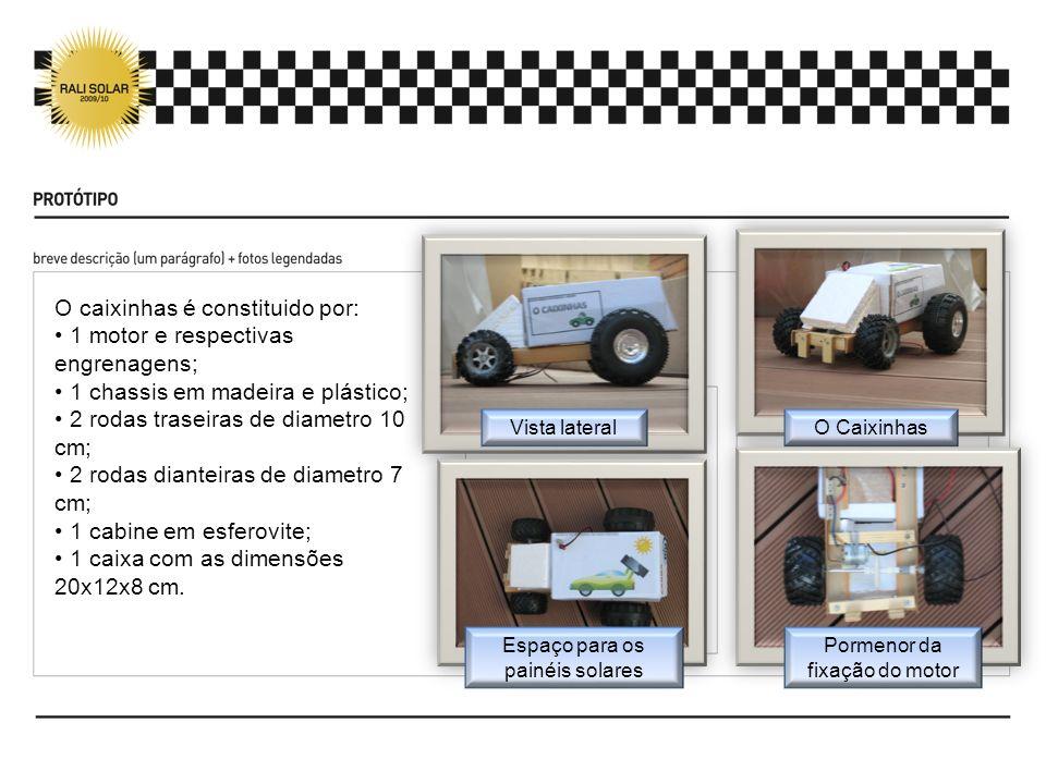 O caixinhas é constituido por: 1 motor e respectivas engrenagens; 1 chassis em madeira e plástico; 2 rodas traseiras de diametro 10 cm; 2 rodas diante
