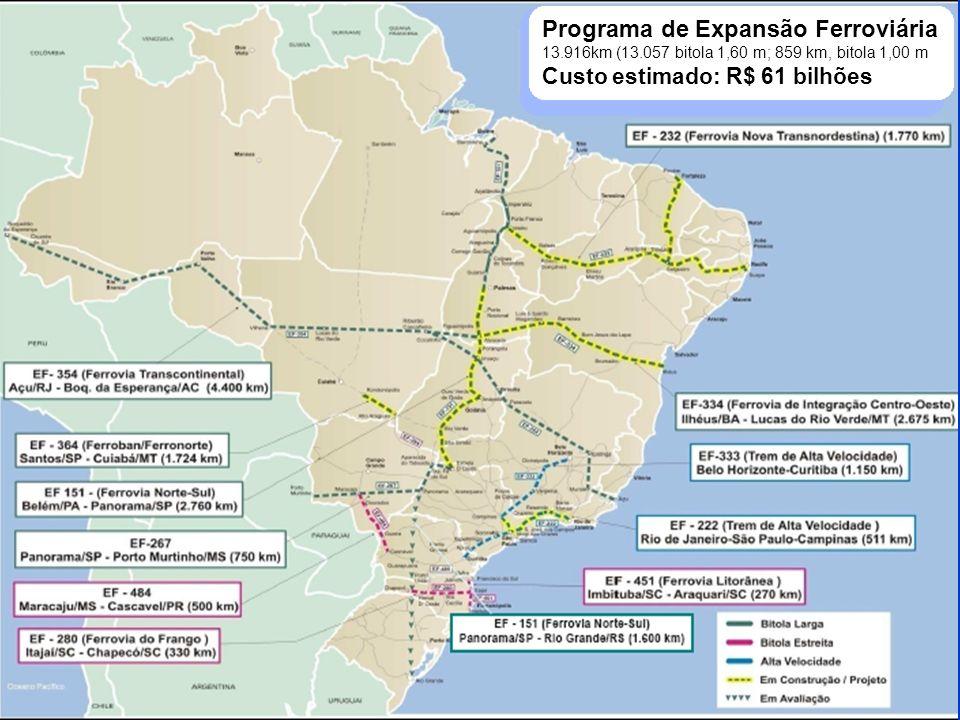 VALEC Ministério dos Transportes O grande destaque: ferrovias O Brasil está redesenhando e modernizando sua malha ferroviária, estruturando um sistema