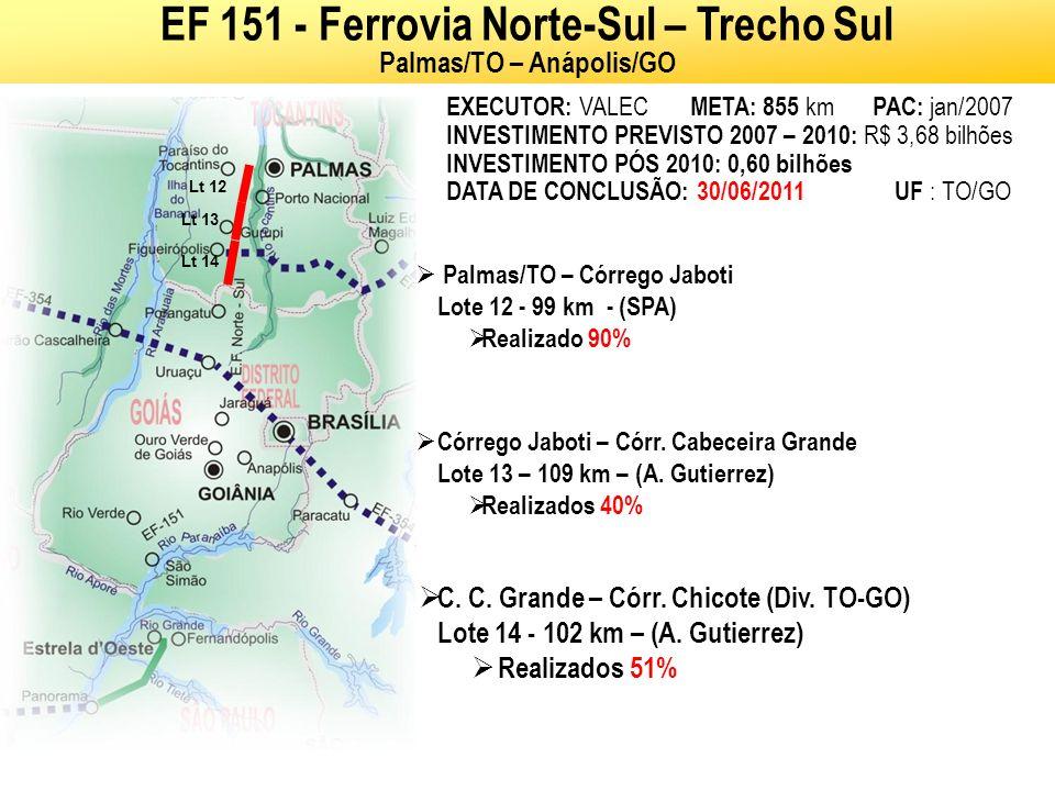 VALEC Ministério dos Transportes EXECUTOR: VALEC META: 719 km PAC: jan/2007 INVESTIMENTO PREVISTO 2007 – 2010: R$ 1,65 bilhão DATA DE CONCLUSAO: 30/08