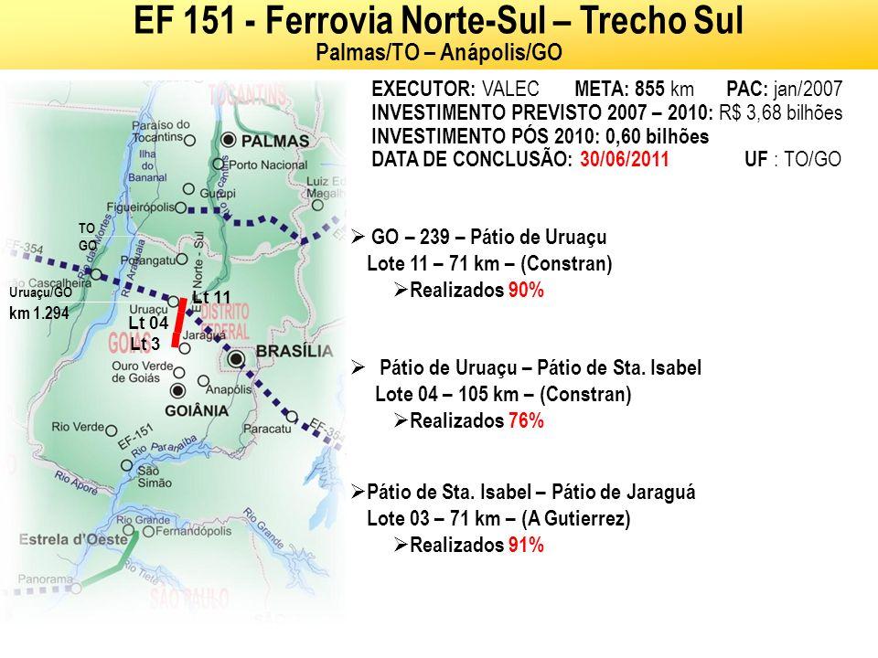 Córr.Chicote (Div. TO-GO) - Rio Canabrava (GO) Lote 15 – 66 km – (Iesa) Concluído em 20/12/2010 EF 151 - Ferrovia Norte-Sul – Trecho Sul Palmas/TO – A