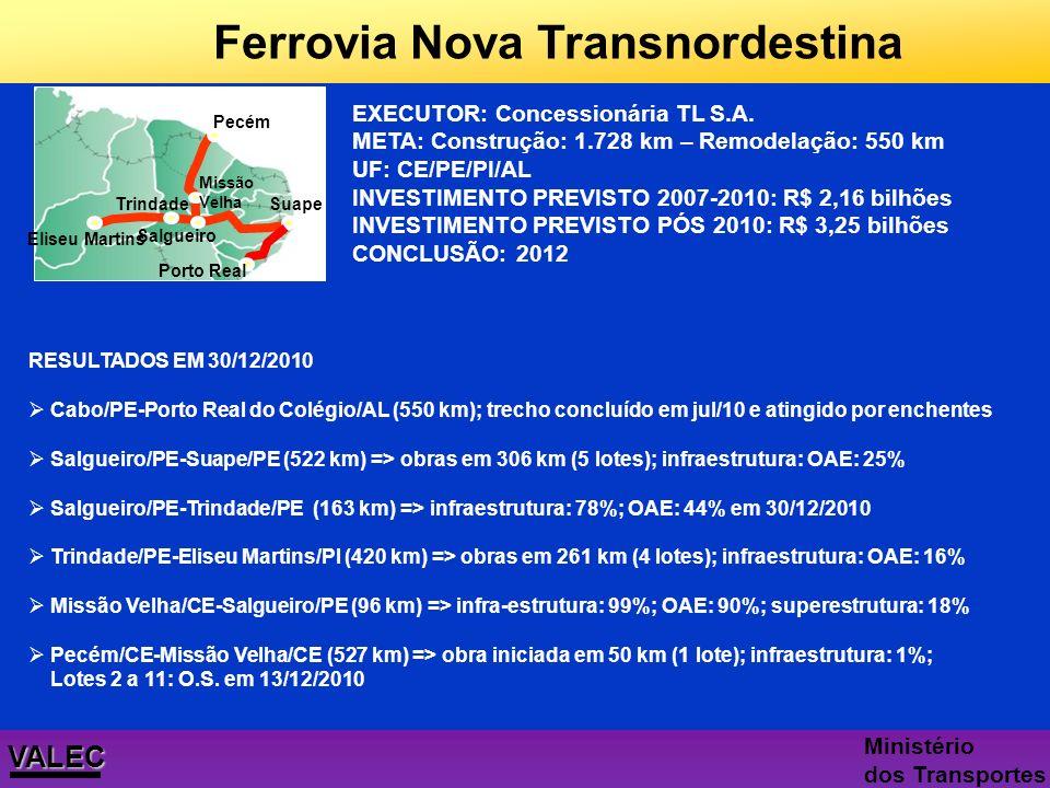 Nova Ferrovia Transnordestina 1.728 km ( 1.178 km de novas linhas) Potencializa novos p ó los e arranjos produtivos locais: 30 milhões t./ano (soja, b