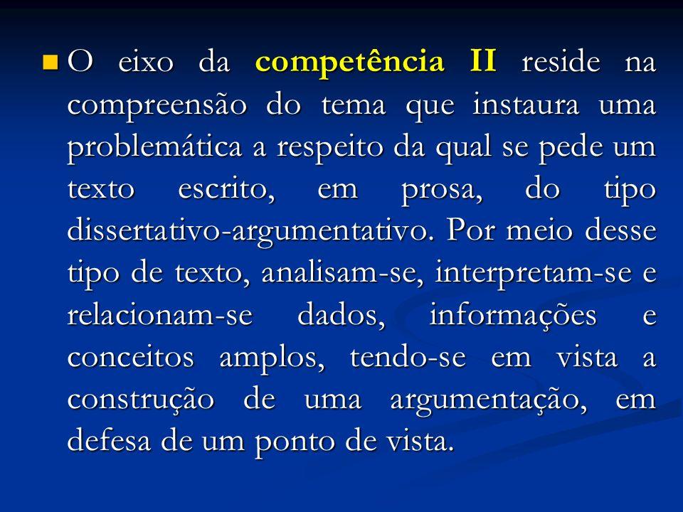 O eixo da competência II reside na compreensão do tema que instaura uma problemática a respeito da qual se pede um texto escrito, em prosa, do tipo di