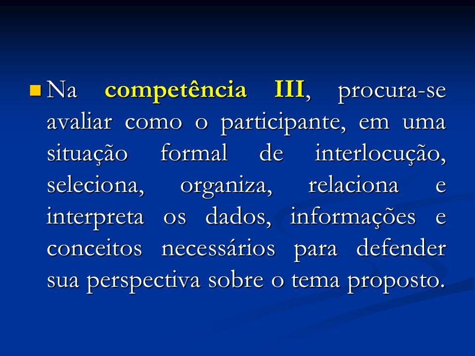 Na competência IV, avalia-se a utilização de recursos coesivos da modalidade escrita, com vistas à adequada articulação dos argumentos, fatos e opiniões selecionados para a defesa de um ponto de vista sobre o tema proposto.