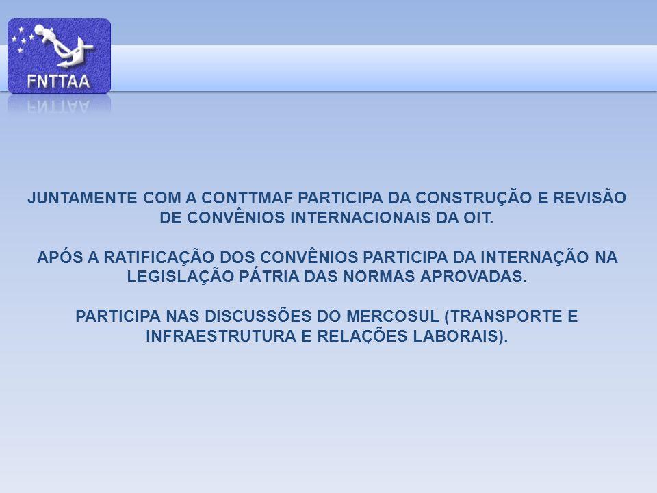 JUNTAMENTE COM A CONTTMAF PARTICIPA DA CONSTRUÇÃO E REVISÃO DE CONVÊNIOS INTERNACIONAIS DA OIT.