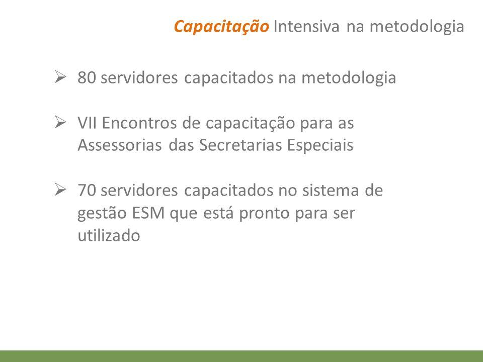 Capacitação Intensiva na metodologia 80 servidores capacitados na metodologia VII Encontros de capacitação para as Assessorias das Secretarias Especia