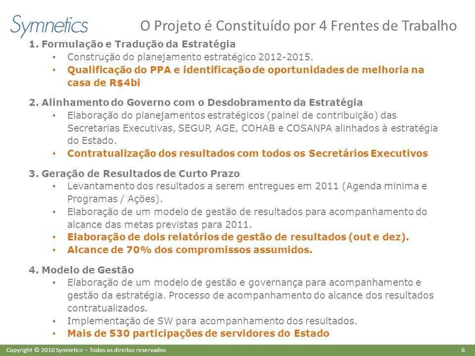 6 Copyright © 2010 Symnetics – Todos os direitos reservados O Projeto é Constituído por 4 Frentes de Trabalho 1. Formulação e Tradução da Estratégia C