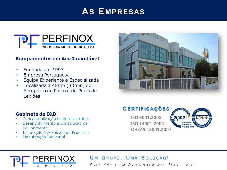 A S E MPRESAS Fundada em 1997 Empresa Portuguesa Equipa Experiente e Especializada Localizada a 45Km (30min) do Aeroporto do Porto e do Porto de Leixõ